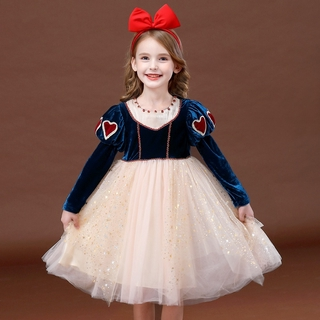 NNJXD Newest Autumn Winter Baby Girls Dress Elegant Long Sleeve Princess Cosplay Costume for Halloween Birthday Christmas Carnival Ball Gown