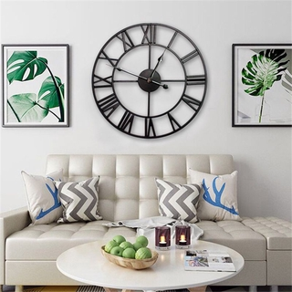 40cm Large Wall Clock Big Metal Roman Numerals Giant Open Face Round Home Decor