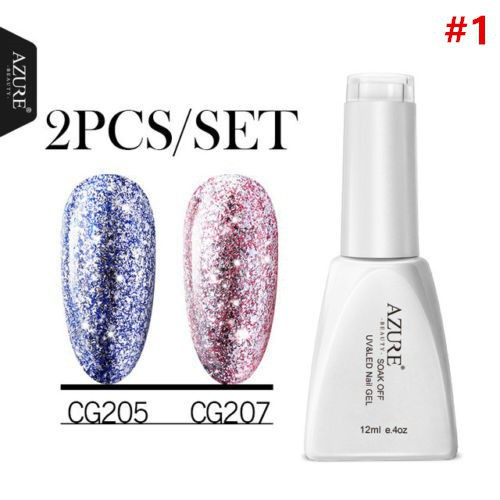 Azure 12ML 2Pc/set Glitter Platinum Gold Gel Nail Polish UV LED Soak Off Vainish