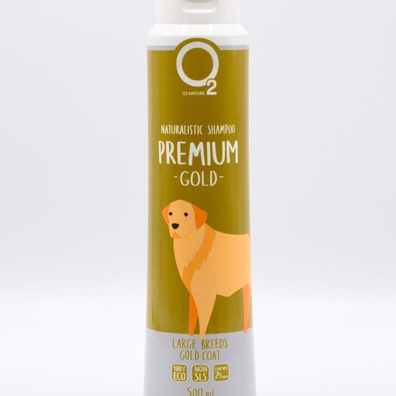 O2NATURE Premium (Gold) แชมพูขนหอม ลดขนร่วง สำหรับสุนัขผิวแพ้ง่าย อักเสบติดเชื้อ (500ml)