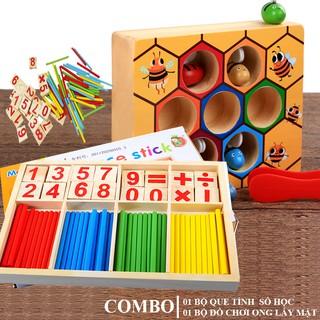 [Tặng Rubic 20k] Đồ chơi toán học, Combo đồ chơi que tính và ong vàng cho bé