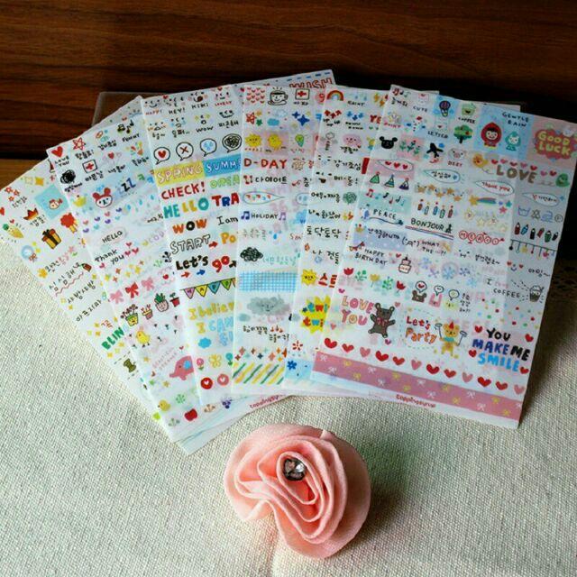 Bộ 6 tấm sticker trang trí sổ, planner, lịch