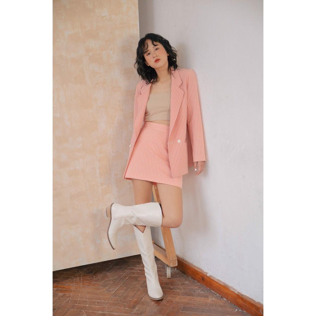 LIBÉ - Chân váy form A caro màu hồng
