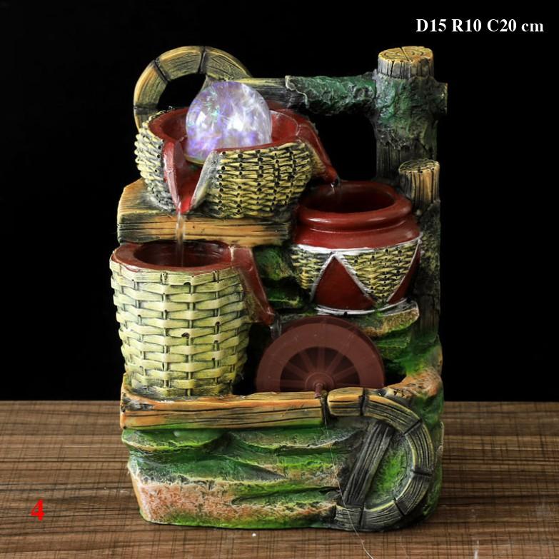 Thác nước phong thủy để bàn Size 15x10x20 cm, mẫu cọc gỗ và bánh xe nước