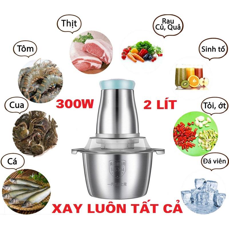Máy xay thị đa năng làm giò chả dung tích 2L, máy xay thịt cối inox 304, máy xay công suất 300w