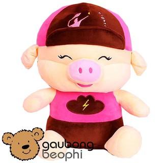 Gấu bông lợn ngồi đội nón, kiểu dáng đáng yêu ,quà tặng cho năm kỷ hợi size 50cm ( giao màu ngẫu nhiên)