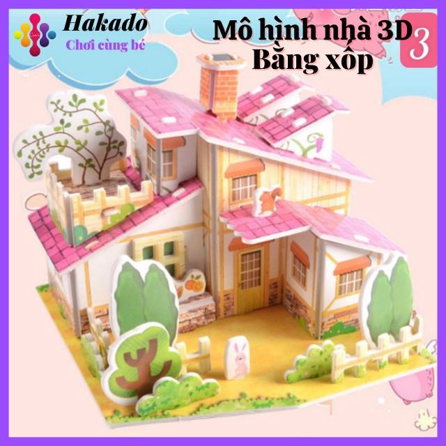 Đồ chơi mô hình nhà 3D bằng bìa xốp cho bé