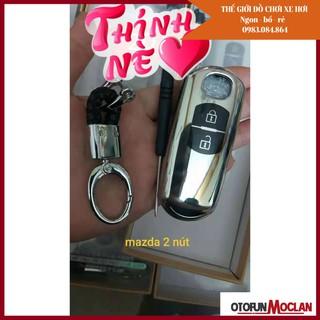 Ốp chìa khóa mạ crom Mazda 2 nút - ( Mazda 2, mazda 3, cx5 2013-2017) , tặng quà móc thất lạc thumbnail