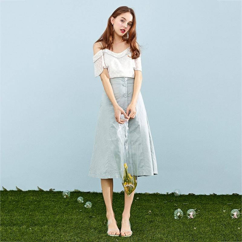 3432329811 - Set Áo Sơ Mi Dài Tay + Chân Váy Màu Trơn Thời Trang Cho Nữ