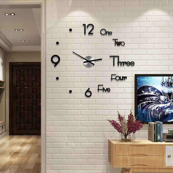 Đồng Hồ Dán Tường 3D Thiết Kế Tráng Gương Hiện Đại Sang Trọng
