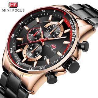 Đồng hồ nam MINI FOCUS MF01 6 kim có lịch chống nước chống xước cao dây thép đặc kim dạ quang