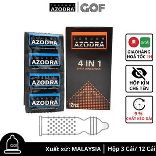 Bao cao su kéo dài thời gian Azodra 4 in 1 gai gân Hộp 12 cái GoF thumbnail