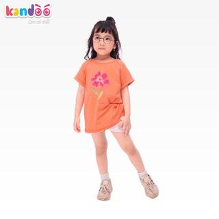 Áo T-shirt bé gái KANDOO màu cam, chất liệu 100% cotton cao cấp mềm mịn, thoáng mát-Mã DG16TS05