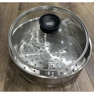 Xửng hấp Inox 304 Kims Cook Hàn quốc size 24, kèm vung kính cao cấp, hàng chính hãng BH 12 tháng