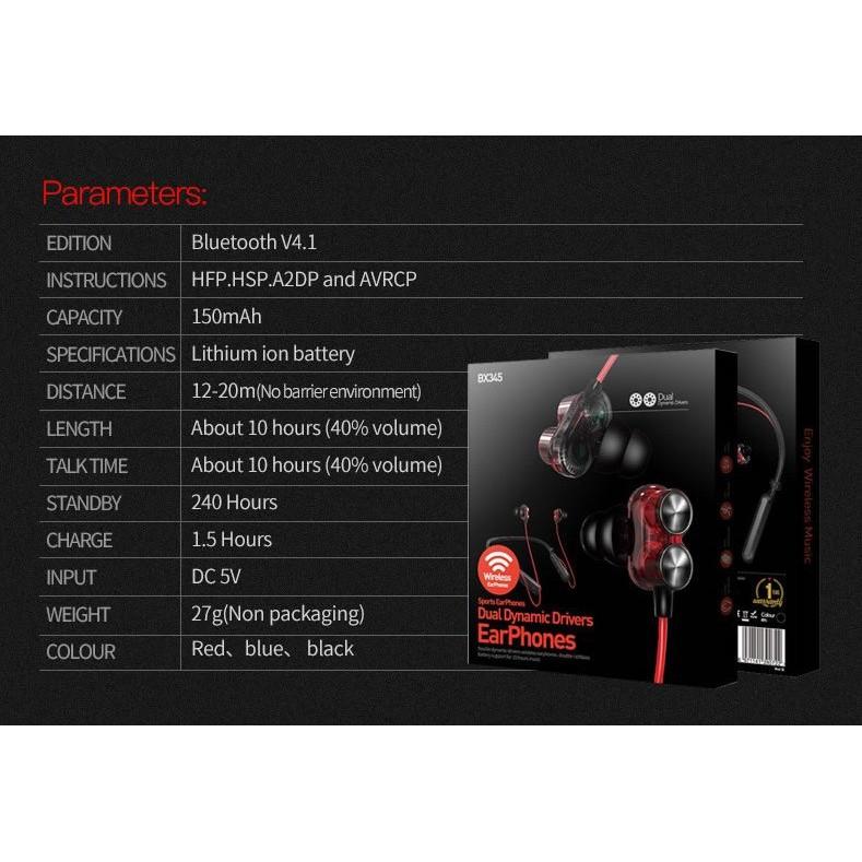 Tai Nghe Bluetooth Thể Thao Plextone Bx345 Bass Mạnh, Chống Nước - Bh 3 Tháng 1 đổi 1
