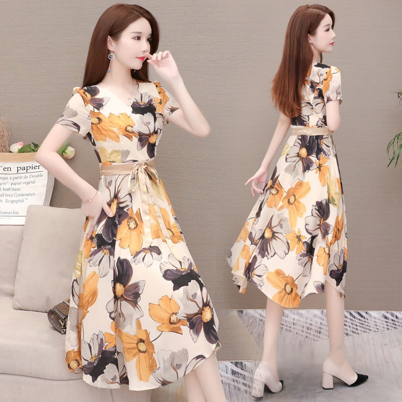 ✷┋Wealthy woman floral chiffon dress female in the summer of 2019 new charge show thin waist noble lady skirt