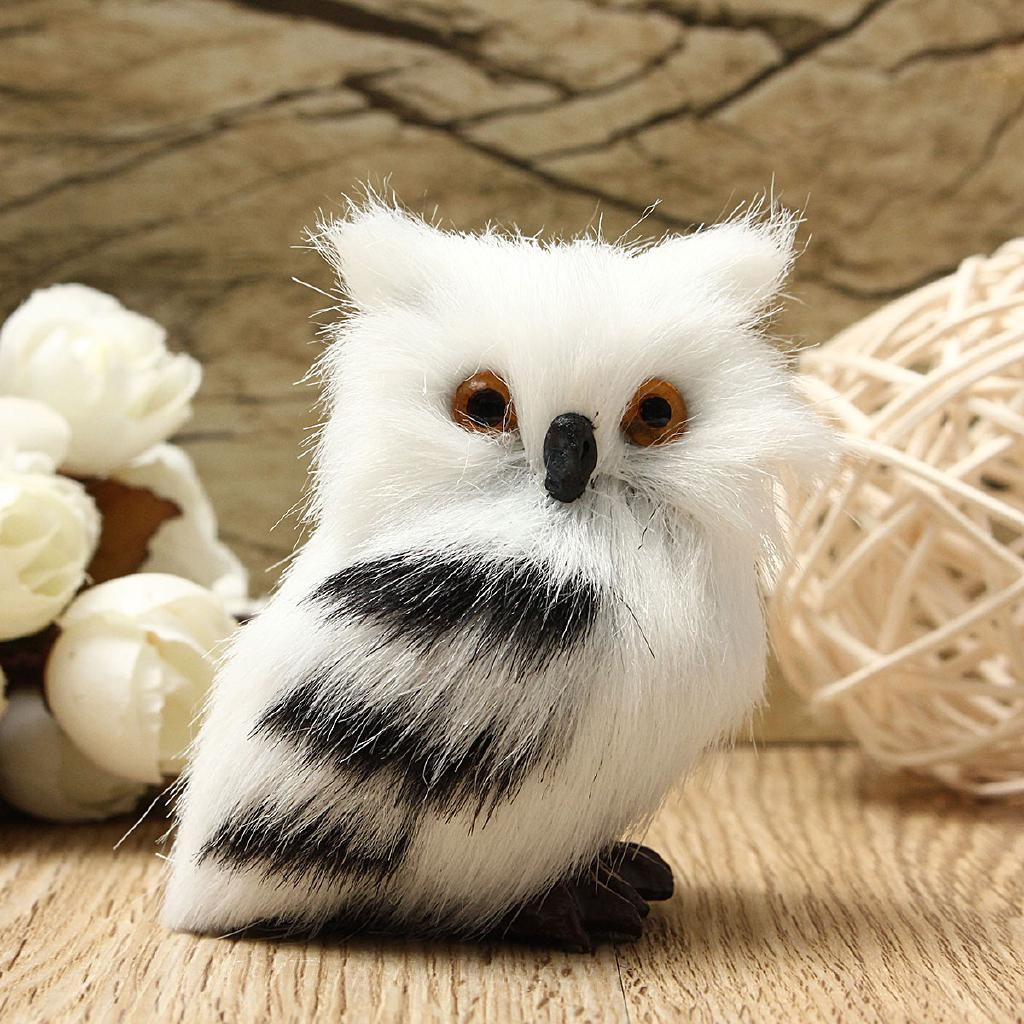2PCS Owl White Black Furry Christmas Ornament Decor Adornment