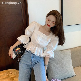 áo sơ mi nữ áo sơ mi ۞Square collar lace shirt female design feeling small brief paragraph accept waist coat in summer 2020, the new short sleeve