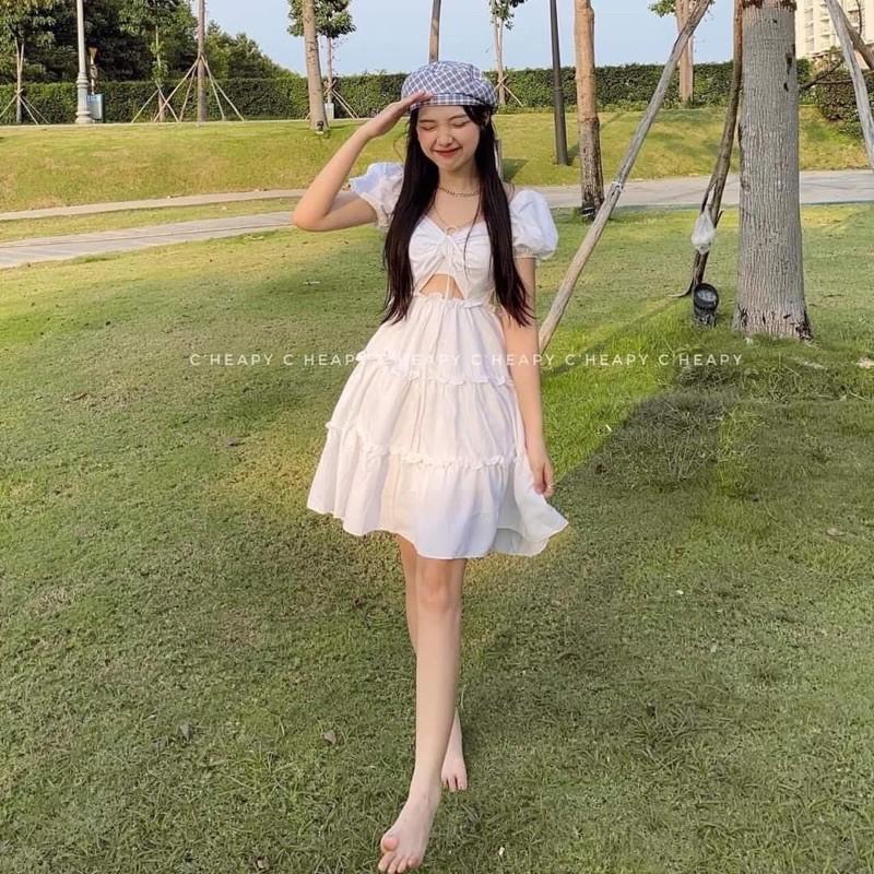 Mặc gì đẹp: Sang chảnh với Váy Rút Ngực Bánh Bèo Màu Trắng Tinh Khôi, Đầm Bánh Bèo Dự Tiệc Màu Trắng ( video shop tự quay )