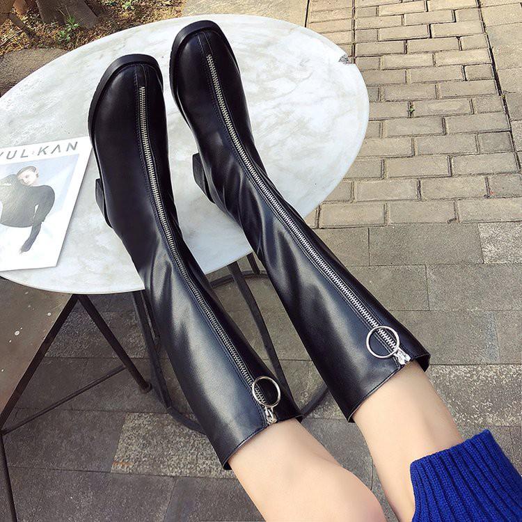 【จัดส่งฟรี】วหญิง 2019 แฟชั่นใหม่หนากับรองเท้าสูงสุทธิสีแดงป่าซิปหน้ารองเท้ายาวบาง