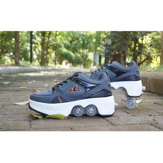 Giày Thể Thao Kiêm Giày Trượt Patin 4 Bánh Với Trục Bánh Xe Gấp Gọn Dễ Sử Dụng Nhóm Màu Đen
