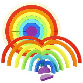 14Pcs Wooden Rainbow Building Blocks Stacking Game Learning Toy Geometry Building Educational Toys