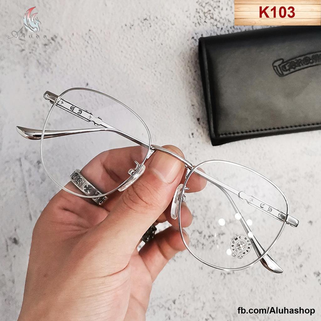 Gọng kính Hàn Quốc mạ điện Titan nguyên chất họa tiết vảy Chrome Heart chống ánh sáng xanh - K103...
