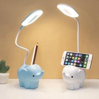 Đèn học LED tích điện 3 chế độ ánh sáng tích hợp ống đựng bút con voi