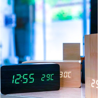 (HCM Freeship 50k) Đồng hồ LED để bàn giả gỗ hình chữ nhật - Báo thức - Nhiệt kế - Cảm ứng âm thanh