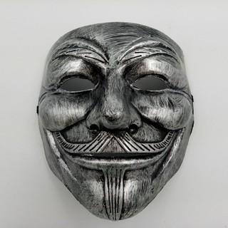 Mặt Nạ hacker Anonymous halloween màu bạc bản mới