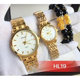 đồng hồ đôi nam nữ Halei mặt trắng HLD19 chống nước chống xước,tặng kèm vòng tì hưu
