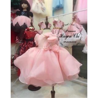Váy công chúa thiết kế voan phồng tặng kèm cài tóc