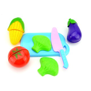 Fruit Vegetable Food Cutting Set Reusable Role Play Pretend Kitchen Kids Toys