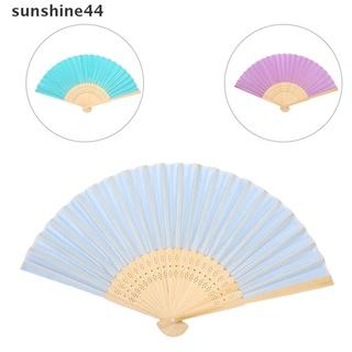 sunshine44 Chinese Hand Fan Folding Silk Bamboo Retro Printing Wedding Party Gift .