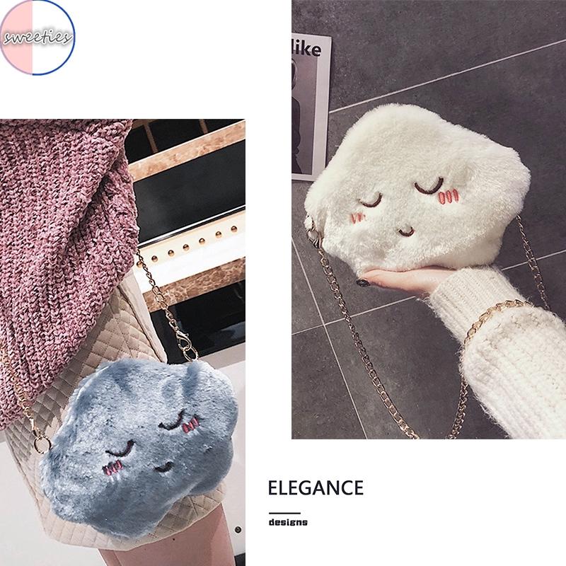 Túi đeo chéo hình đám mây phối lông thiết kế dễ thương cho nữ