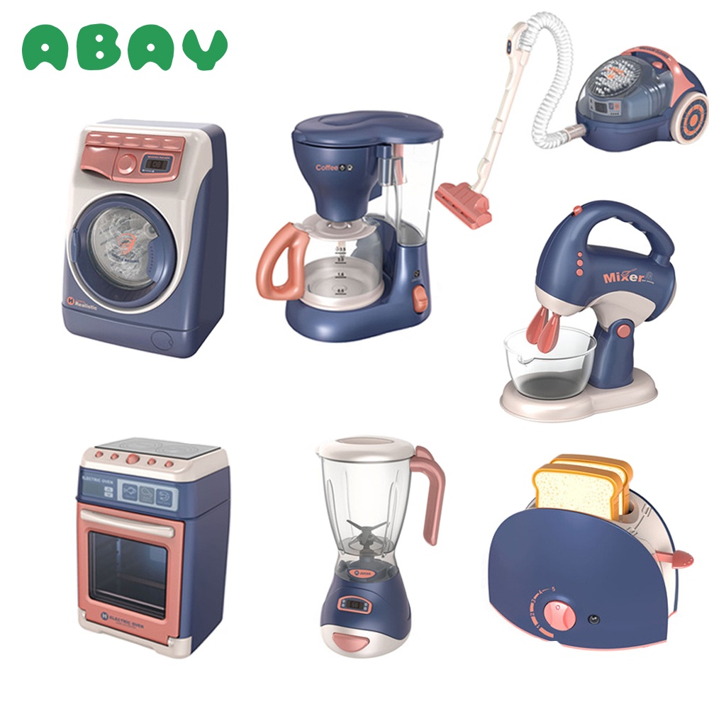 Abay Children Kitchen Toy Simulation Washing Machine Bread Maker Microwave Oven Girls Play House Role Play Interactive Toys Kids