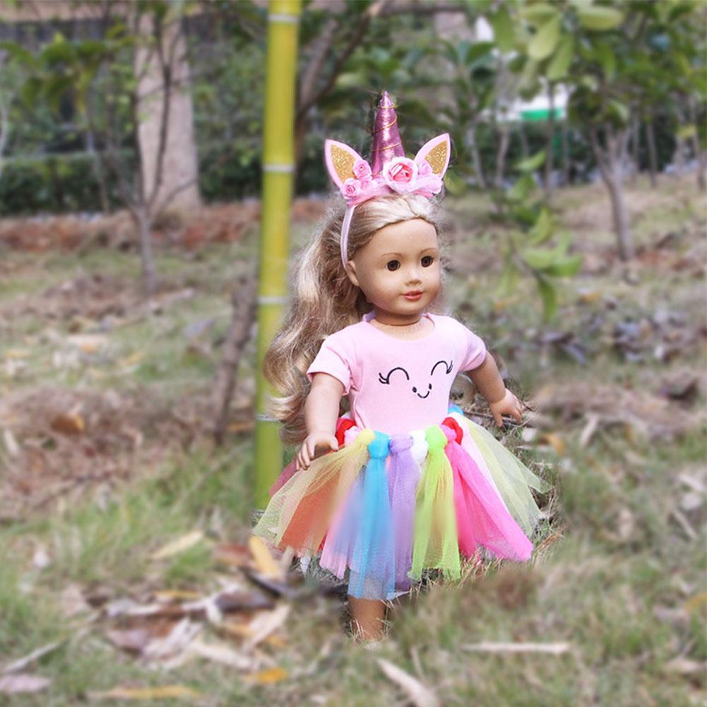 Girl Crown Dress Doll Gauzy inch Hair Princess Set Clothing Accessory Skirt Floral 18 Clothes