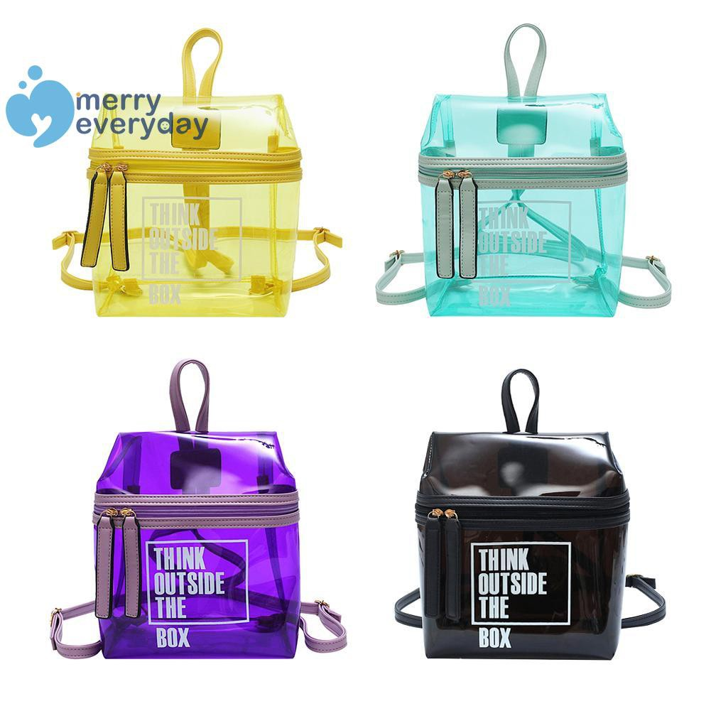❉mer❉Clear Transparent PVC Backpacks Women Bookbags School Girls Shoulder Bags