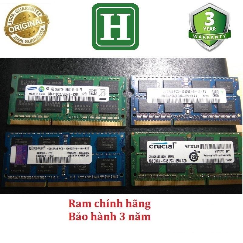 Ram Laptop DDR3 4Gb bus 1333 tháo máy chính hãng, bảo hành 3 năm