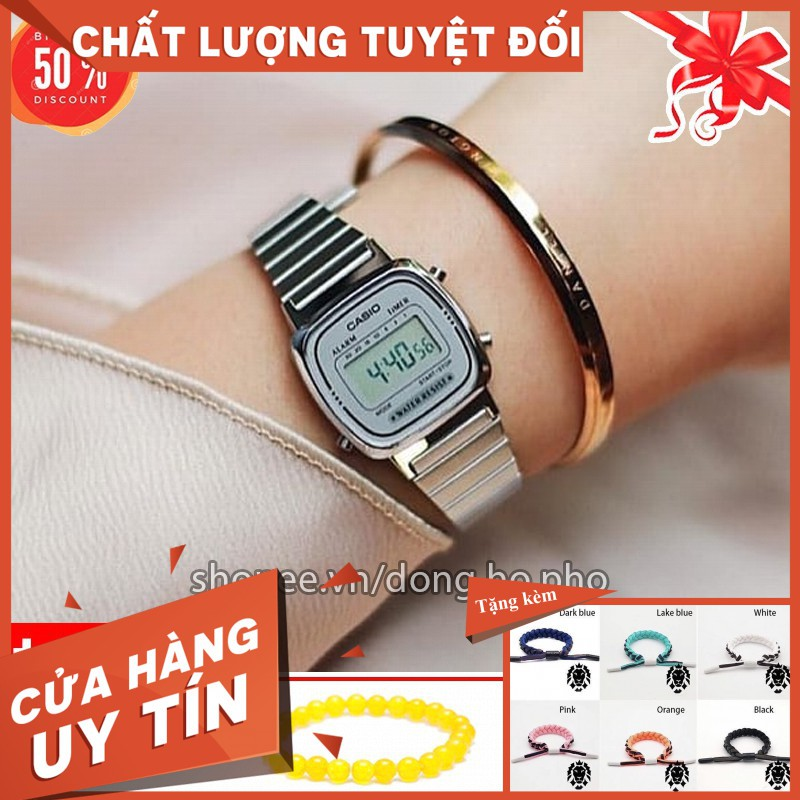 [SHOPEE TRỢ GIÁ] Đồng hồ điện tử Casio nữ LA670WA-2DF dây thép chống nước, mặt vuông cá tính, phong cách