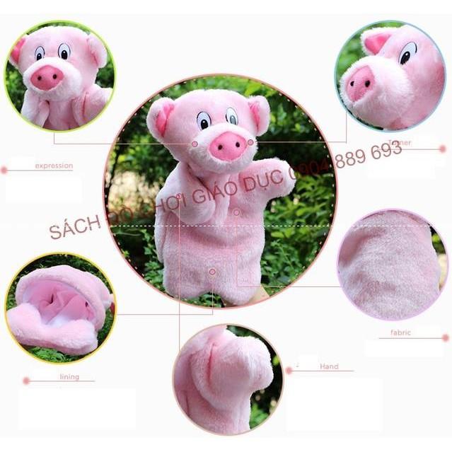 Rối bàn tay hình con lợn hồng (hình các con vật)