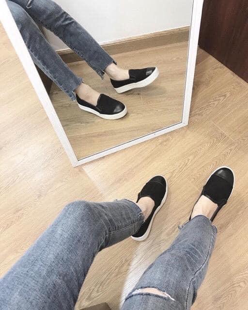 Giày SLIPON VÁ MŨI -kèm clip