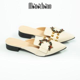 Giày sục nữ cao 3cm MINICHINO mũi nhọn gót vuông, hở gót thời trang màu kem TC054 thumbnail