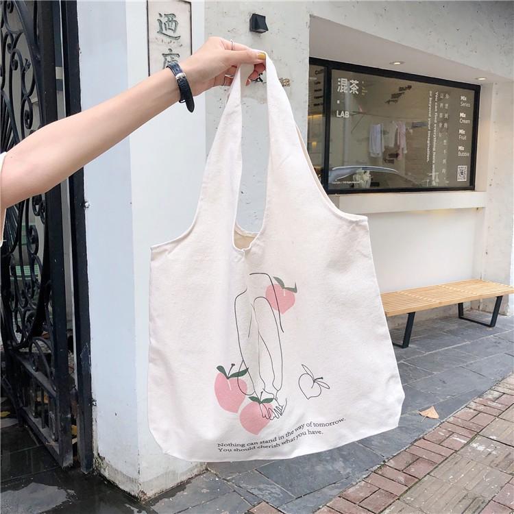 (Freeship từ 50k)MD110- Túi tote phong cách Hàn Quốc in hình hoa quả hottrend