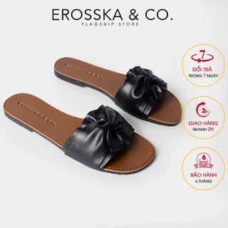 Dép đi biển thời trang Erosska 2021 phối nơ xoắn chéo màu đen _ DE032