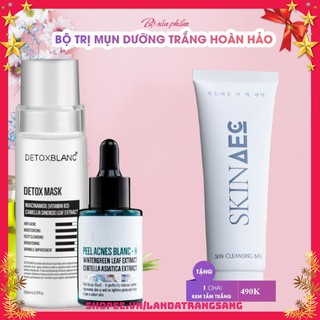 Combo xóa mụn trắng da thải độc detox blanc-Tặng sữa tắm hàng ngày Skin Aec thumbnail