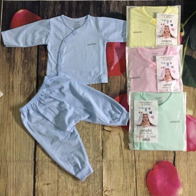 Bộ sơ sinh cotton UNCHI Xuân hè dài tay quần đáp đũng cho bé 3-9kg
