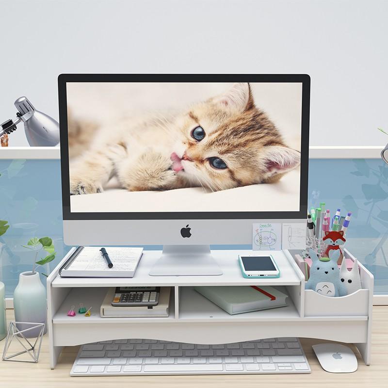 Kệ màn hình máy tính kệ hồ sơ để bàn làm việc đa năng bằng gỗ màu trắng