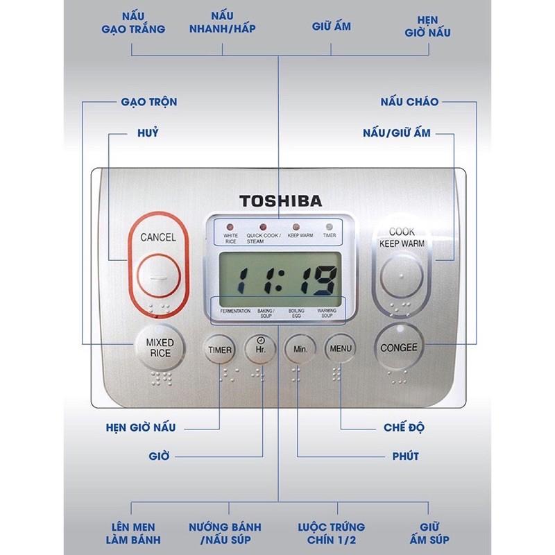 [Mã 267ELSALE hoàn 7% đơn 300K] Nồi cơm điện tử 1,8 lít Toshiba RC-18NMF, Thái Lan