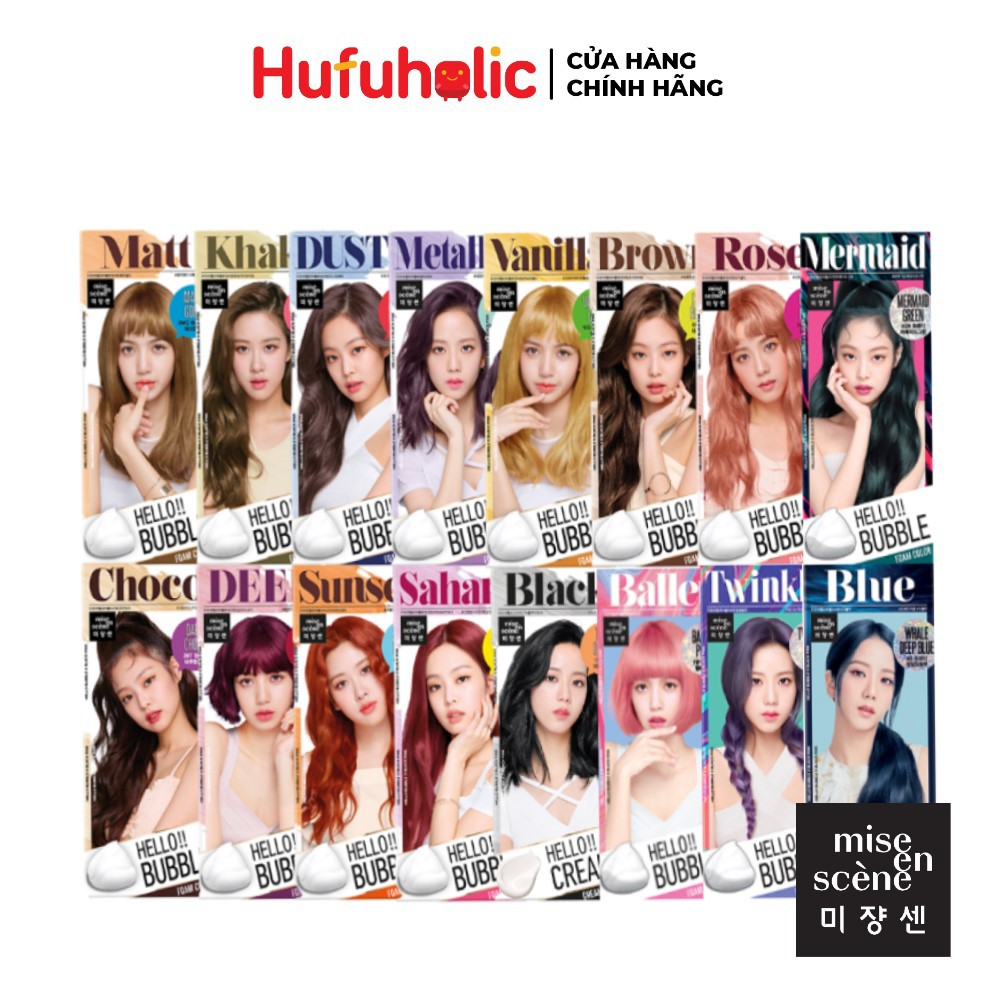 Mise en Scene - Thuốc Nhuộm tóc dạng bọt Black Pink Hello Bubble Foam Color (có Cream)